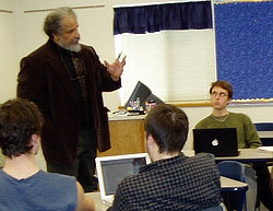 Bill Green addresses Individual and Society class.